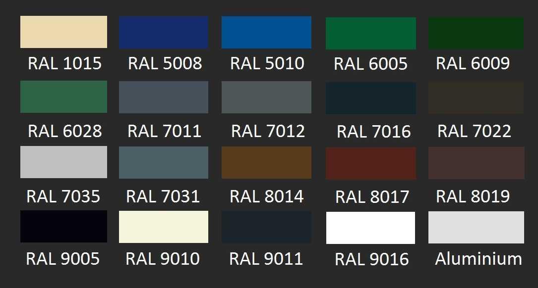 Standaard RAL-kleuren